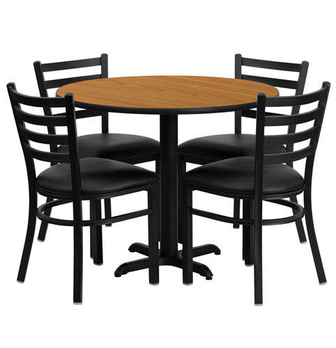 36 Inch Round Natural Laminate Dining Table Set With 4 Black Chairs Of1hdbf1031 Gg
