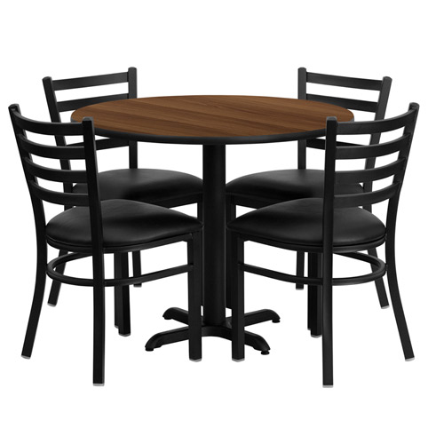 36 Inch Round Walnut Laminate Dining Table And Chair Set With 4 Black Chairs Of1hdbf1032