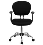 Mid back black mesh fabric chair with arms chrome base
