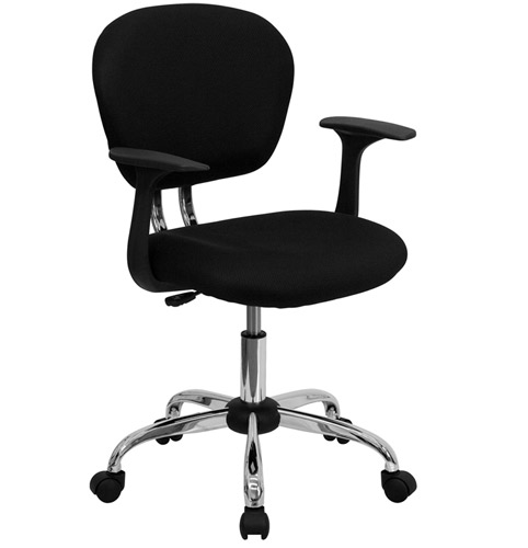 mesh fabric office chair with arms and chrome base - myofficeone
