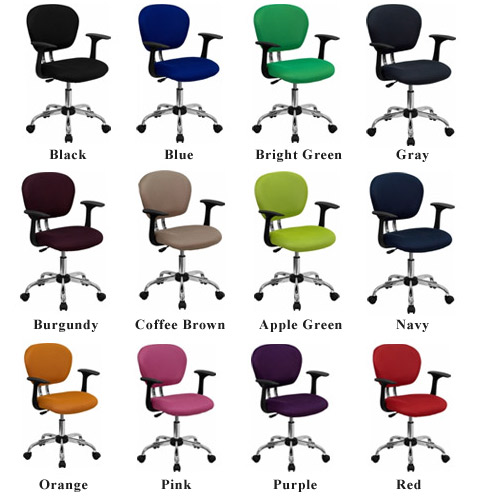 Mid Back Colored Mesh Fabric Chair With Arms Chrome Base Options