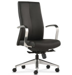 Trendway Sketch Black Leather High Back Chair with Metal Polished Aluminum Arms and Base SRX022