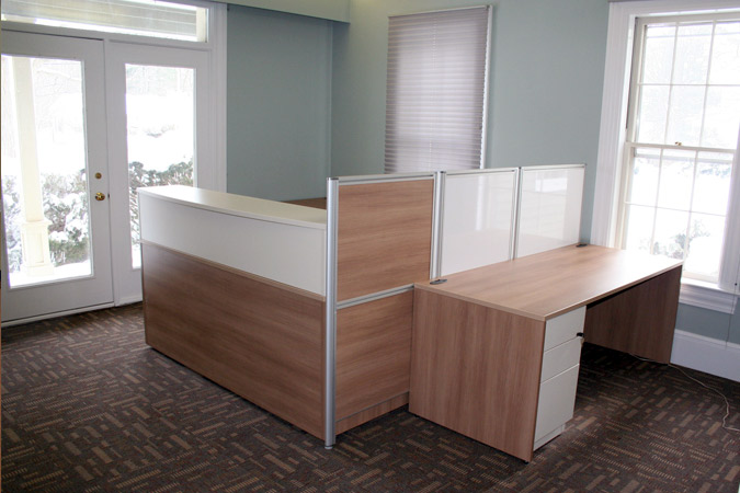 ARTOPEX laminate office desk with whiteboard privacy panel divider