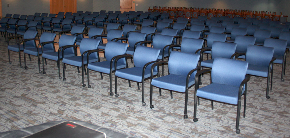 Guest Chairs with blue fabric seat and back