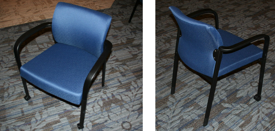 Link fabric guest chair detail images - blue fabric
