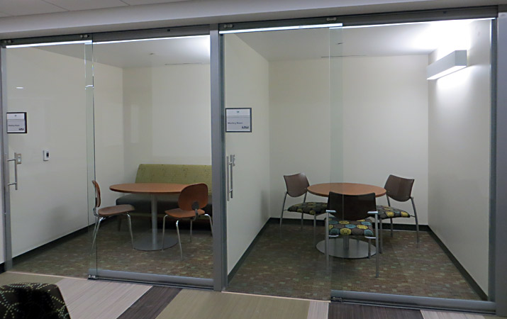 Interior Glass Wall System with Sliding Doors - University Application