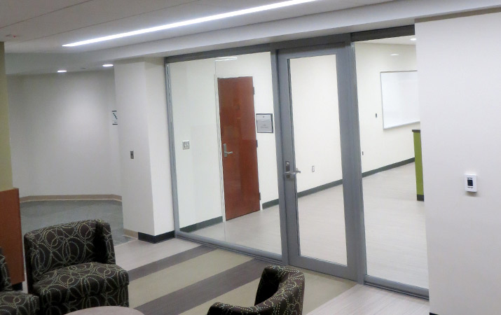Glass Wall System with Aluminum Framed Glass Swing Door